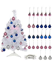 SFTYUFS 23.6 Pre-lit Small Artificial Christmas Tree with LED Lights String Table top Christmas Tree Battery Operated for Indoor Xmas Wedding Party Home Bedroom Centerpiece Decor