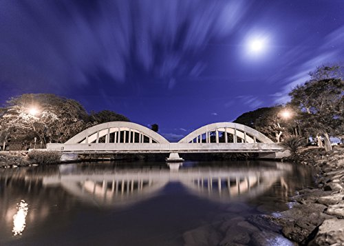Anahulu Stream Bridge at night in Haleiwa, North Shore, O'ahu, Hawaii print picture photo photograph fine art by Mike Krzywonski Photography