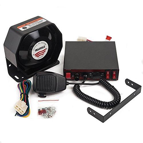 YHAAVALE CJB200E Amplifier Police Siren & Metal Ultra Slime Octagon Flat Speaker,DC12V 100W 8 Tones Wired Mic Loudspeaker Emergency Electronic PA System