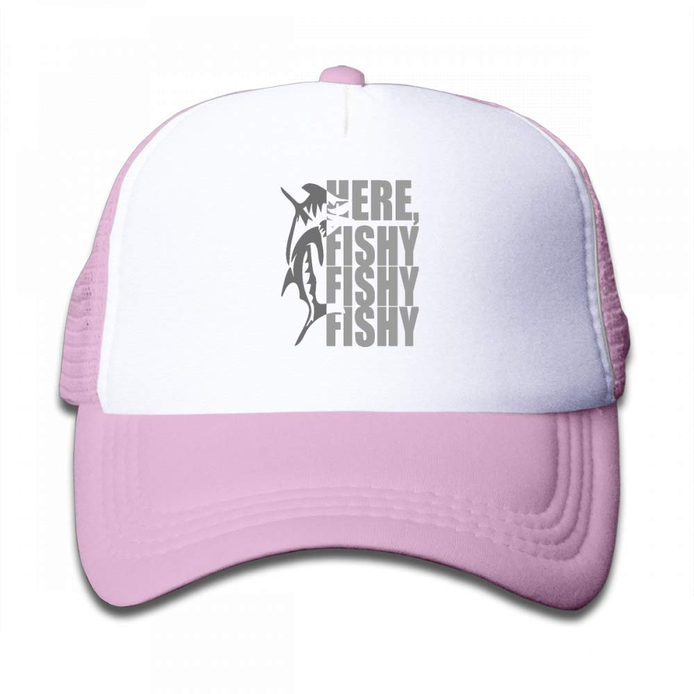 NO4LRM Kid's Boys Girls Here Fishy Fishy Fishy Youth Mesh Baseball Cap Summer Adjustable Trucker Hat by NO4LRM (Image #1)