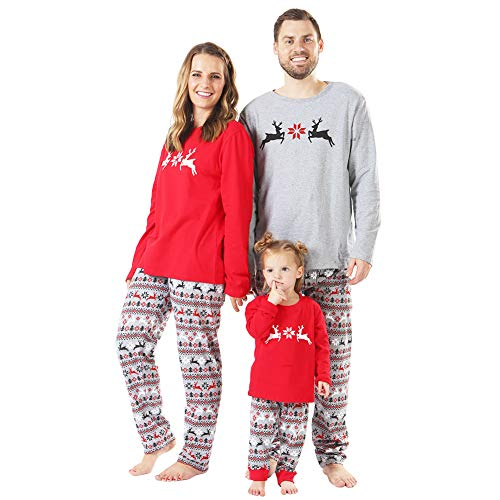 BOBORA Christmas Pajamas for Family, Merry Christmas Classic Reindeer Matching Family Christmas Pajama Set Toddler Jammies -