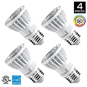 Hyperikon PAR16 LED Bulb, 8W (50W equivalent), 520 lumen, 3000K (Soft White Glow), CRI90+, Flood Light Bulb, 40° Beam Angle, Medium Base (E26), Dimmable, UL-Listed - (Pack of 4)