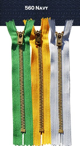 """4"""" - 11"""" Jean Zippers ~ YKK #5 Jeans ~ Brass By Each (Select Length/color) (Length 6 inches, 560 - Navy)"""