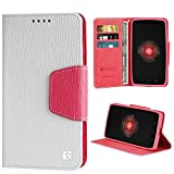 Beyond CellPremium 2-Layer Protection Luxury PU Leather Folio Flip Cover Wallet Phone Case With Stand For Motorola Droid Ultra/Maxx XT1080/M - White/Pink - Retail Packaging