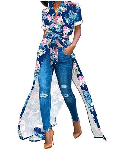 Camicia Orlo Coolred Cocktail Party Elegante Blu donne Asimmetrico Floreale Stampa Vestito 67pBcW