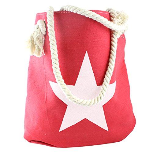 Sonia Originelli Borsa Shopper Borsa Da Spiaggia Stella Ancora Corda Corda T021-uni (stella Corallo-bianca)