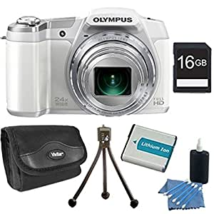 Olympus Stylus SZ-16 iHS Digital Camera with 24x Optical Zoom and 3-Inch LCD (White) Plus 16GB Memory Kit. Kit Includes 16GB Memory Card, Replacement Lithium Battery, Flexible Mini Table-top Tripod, Deluxe Carrying Case , and 3pc. Lens Cleaning Kit.