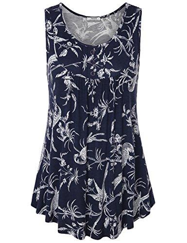 Youtalia Womens Summer Sleeveless Scoop Neck Shirts Pleats Flowy Tunic Tank Multicolor Blue Large (Balloon Mini Button)