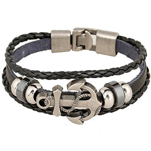 Iumer Men Fashion Cool PU Metal Anchor Bracelet Wristband Gifts Jewelry