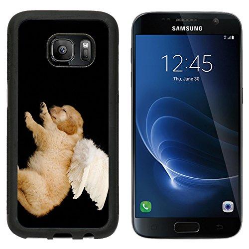 [MSD Premium Samsung Galaxy S7 Aluminum Backplate Bumper Snap Case IMAGE ID: 3239335 innocent puppy wearing angel] (Fantasy Life Angel Costume)