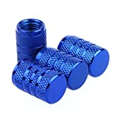 Godeson Blue Aluminum Car Truck Motocycle Bike Tyre American Air Valve Caps Tire Valve Cap Car Knurling Style Airtight –set of 4pcs