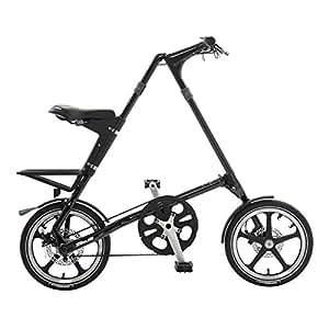 STRiDA LT Folding Bicycle, unique design, folds to 45x20x9, 16 inch wheels, Unisex, Black