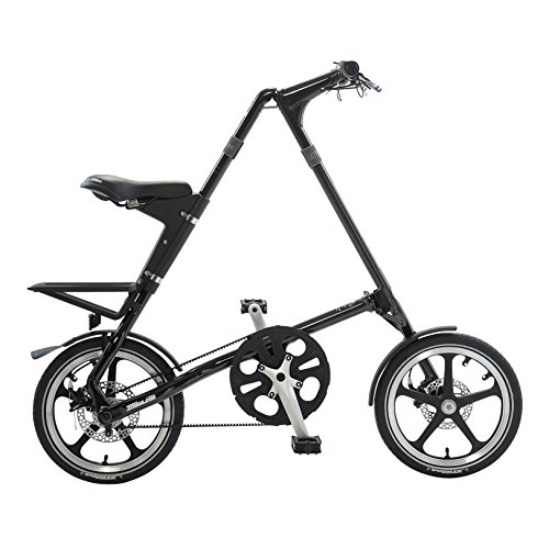 STRiDA LT Folding Bicycle, unique design, folds to 45x20x9, 16 inch wheels, Unisex, Black Top Deals