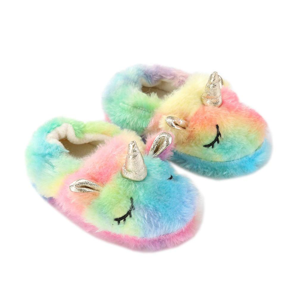 MaiYi Toddler Kids Unicorn Slippers Cute Animal House Shoes Household Anti-Slip Warm Winter Indoor Home Slides Slippers for Boys Girls