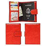 Banuce Italian Leather Passport Cover Card Holder Travel Wallet Color Watermelon Red