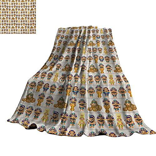 RenteriaDecor Egyptian,Fleece Blanket Cute Kids Design with Egyptian Cartoon Ancient Figures King Queen Myth Pattern Plush Microfiber Blanket 70