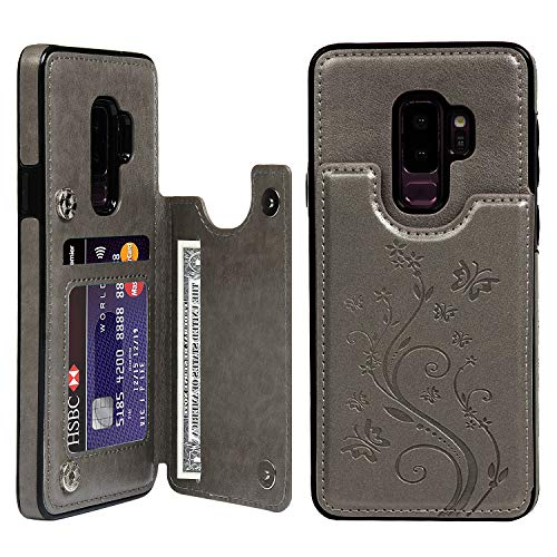Galaxy S9 Plus Wallet Case with Card Holder, Galaxy S9 Plus Cover PU Leather Kickstand Card Slots Shell Magnetic Clasp Skin for Samung Galaxy S9 Plus, Gray