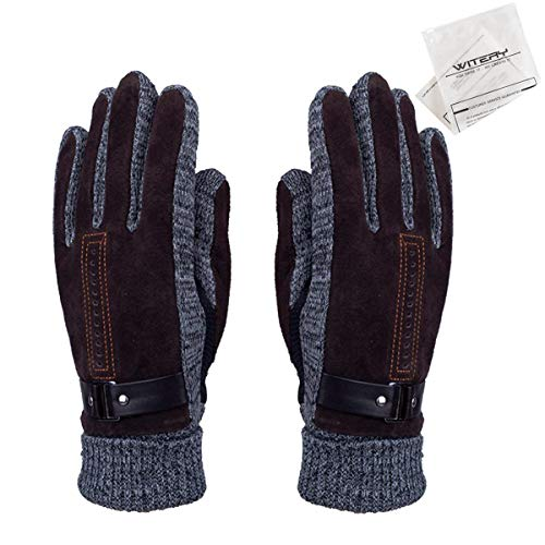WITERY Men's Winter Leather Gloves Thick Warm Fleece Windproof Gloves Cold...