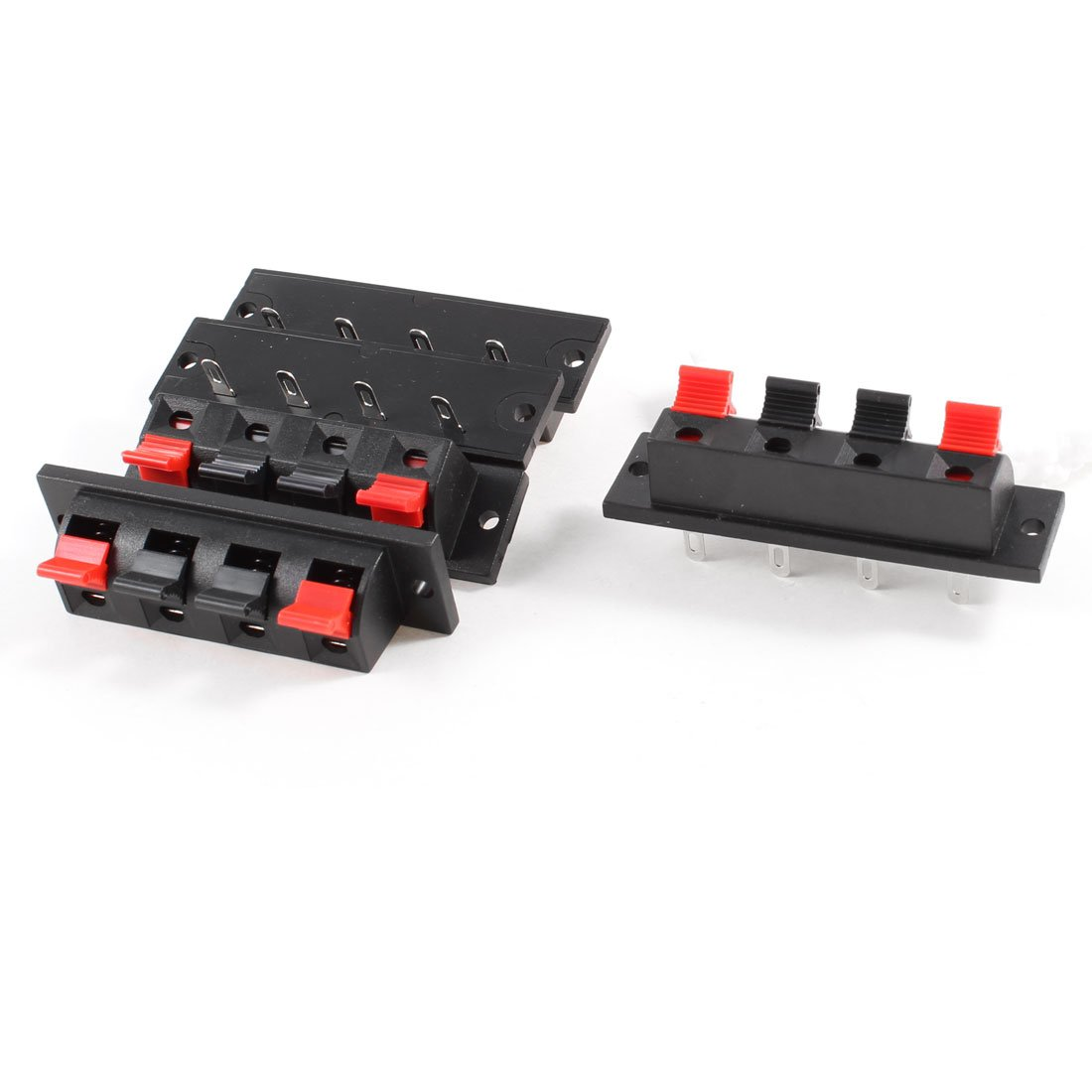 uxcell 5 Pcs 64mm x 18mm 4 Positions Push in Jack Spring Load Audio Speaker Terminals