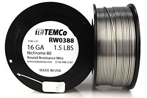 Price comparison product image TEMCo Nichrome 80 series wire 16 Gauge 1.5 lb (202.5ft) Resistance AWG ga