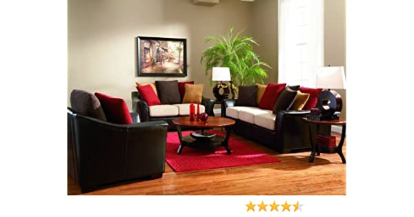 Astonishing 2Pc Sofa Set With Microfiber Seat Cushions Dark Brown Leather Like Unemploymentrelief Wooden Chair Designs For Living Room Unemploymentrelieforg