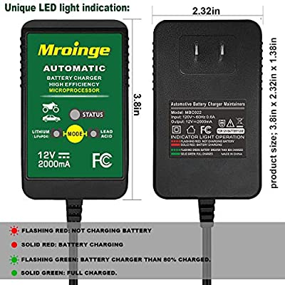 Mroinge 12V 2A Lead Acid/Lithium(LiFePO4) Automatic Trickle Battery Charger Smart Battery Maintainer for Car Motorcycle Lawn Mower Boat ATV SLA AGM GEL CELL Lithium(LiFePO4) and More Batteries: Automotive