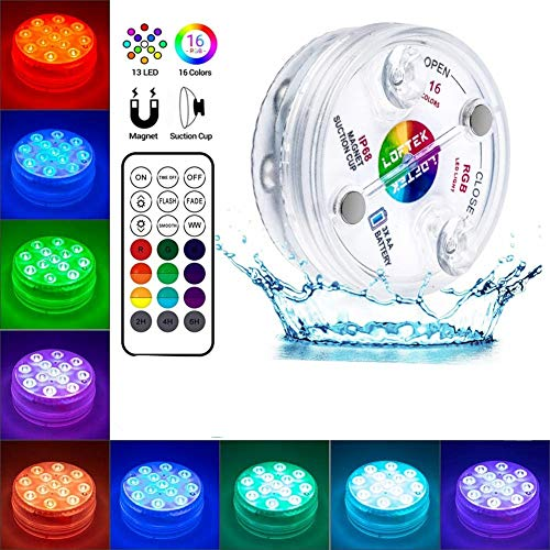 gdfh Submersible Led Lights,13 LED Submersible Lights Remote Controlled RGB Changing Underwater Waterproof Lights for Pond Pool Fountain Aquarium Vase Hot Tub Bathtub Party and Home Decoration (1pcs)