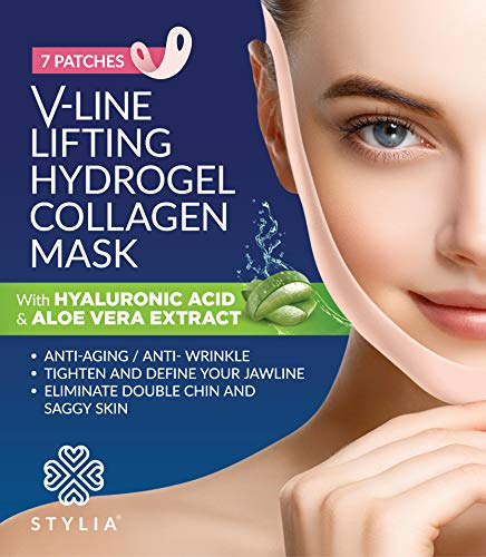 7 Piece V Line Shaping Face Masks - Lifting Hydrogel Collagen Mask with Aloe Vera - Anti-Aging and Anti-Wrinkle Band - Double Chin Reducer Strap - Contouring, Slimming and Firming Face Lift Sheet (Best Cream For Tightening Jaw Line)