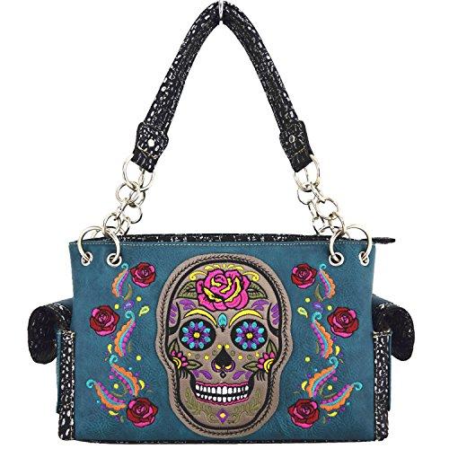 Blancho Ropa de cama Womens [Colorful Bone] PU bolso de cuero Moda elegante bolsa de viaje Turquoise