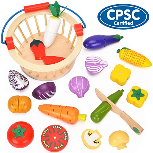 (BATTOP Cutting Food Wooden Set with Basket - Magnetic Pretend Play Food Kitchen Toys for Kids)