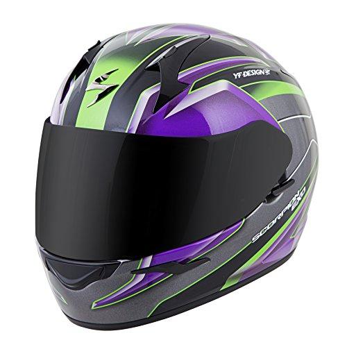 Scorpion EXO-R410 Unisex-Adult Full Face Motorcycle Helmet (Purple/Silver, Large) (Kona)