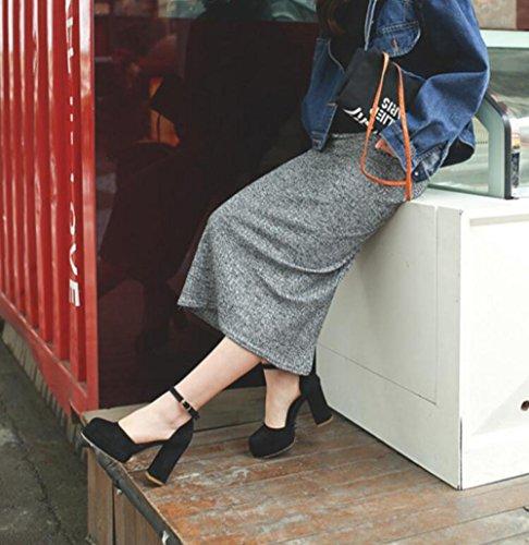 Sandalias Ronda Versión Alto Verano De La Gruesa De Tacón Zapatos De Impermeables Con Black Hebilla Mujer De Nueva MUYII De At7xnzwqU