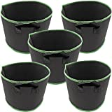 TINTON LIFE 5 Pack 20 Gallon with Handles Thickened Nonwoven Grow Bags Fabric Garden Planting Pots Aeration Container