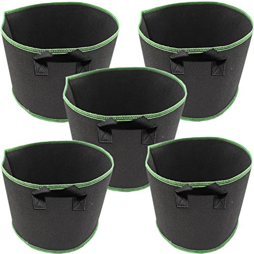 TINTON LIFE 5 Pack 20 Gallon Handles Thickened Nonwoven Grow Bags Fabric Garden Planting Pots Aeration ()