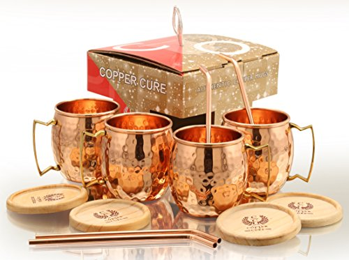 Copper Moscow Mule Mugs With FREE Copper Straws & Coasters - 16 Oz Moscow Mule Copper Mugs – 100% Solid Copper Hammered Mug - Set of 4 (GIFT SET) Copper Cups for Moscow Mule by Copper Cure by Copper Cure