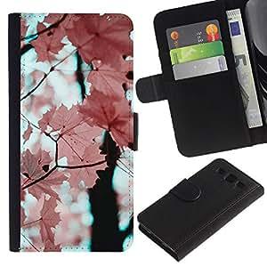 Billetera de Cuero Caso Titular de la tarjeta Carcasa Funda para Samsung Galaxy S3 III I9300 / Pink Leaves Maple Tree Branch / STRONG