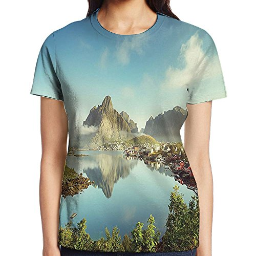 WuLion Reine Creek in Norway in A Sunny Fall Day Tranquil Peaceful Vacation Women's 3D Print T Shirt M White