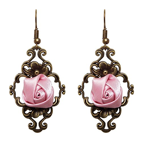 RareLove Retro Lolita Pink Rose Flower Dangle Earrings (Flowers Retro Pink)