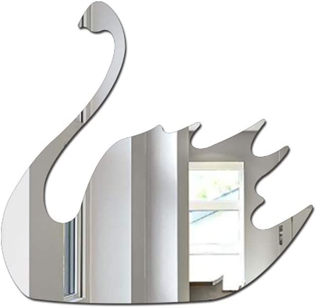Bow Argente yuyuanDO Miroir Autocollant Mural Sticker Serie Animaux Mural Acrylique Autocollant Deco sans Clou Pr/êt /à l/'Emploi Deco Chambre Enfant Bebe