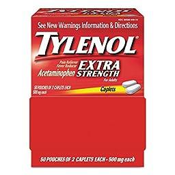 Tylenol 40900 Extra Strength Dispenser Box 2-Pack (50 Packets per Box)
