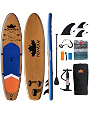 """NEWBUY 11ft Stand Up Paddle Board 11'x33""""x6""""(6"""" Thick), Paddleboard Inflatable SUP Board with Removable 3 Fins, Extra D Rings for Kayak Seat, Double Action Pump, Ideal iSUP for Adults, Teens, and Beginners, All Skill Levels with Full Package - Wood Grain"""