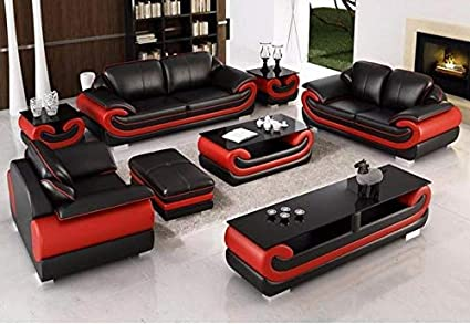 Fine Quality Assure Furniture Modern Leatherette Sectional Sofa With Group Side Table And Coffee Table And Tv Cabinet Red And Black Creativecarmelina Interior Chair Design Creativecarmelinacom