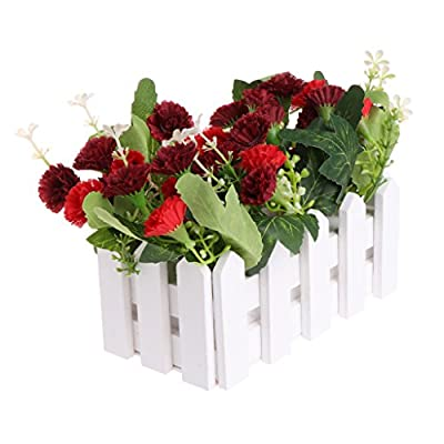 Misright Artificial Flowers Fake Carnation in Picket Fence Pot Home Wedding Party Decor