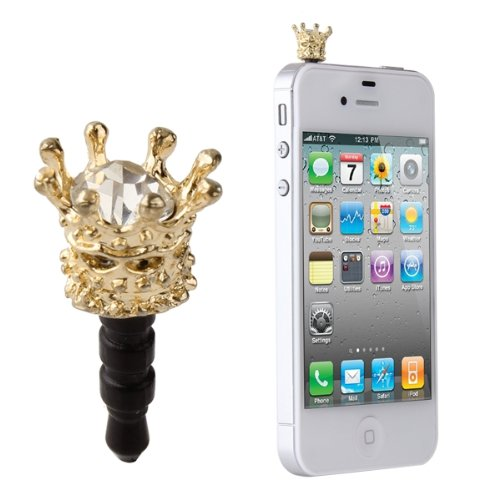 TOOGOO Crown Earphone Jack Plug 3.5mm Anti Dust Stopper Cap for HTC Samsung iPhone 4 - Charms Phone Cell Crown