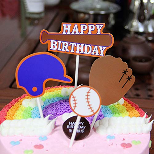 Baseball CakeToppers Sport Theme Party Birthday Party Cupcake Topper Dessert Baking Cake Fruit Food Decoration, 40Pcs ()