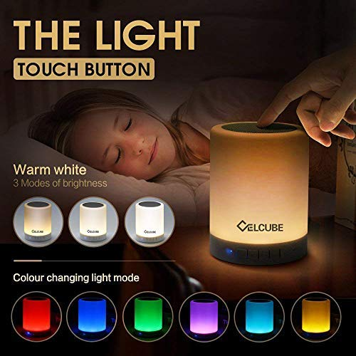 Celcube Night Light Bluetooth Speaker, Touch Bedside Lamp with Wireless Bluetooth Speaker, Smart Dimmable Color Night…