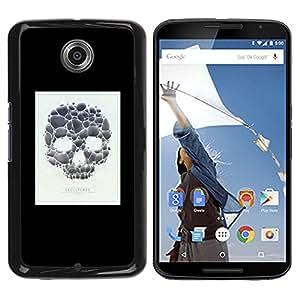 GOODTHINGS Funda Imagen Diseño Carcasa Tapa Trasera Negro Cover Skin Case para Motorola NEXUS 6 / X / Moto X Pro - cartel cráneo minimalista blanco negro