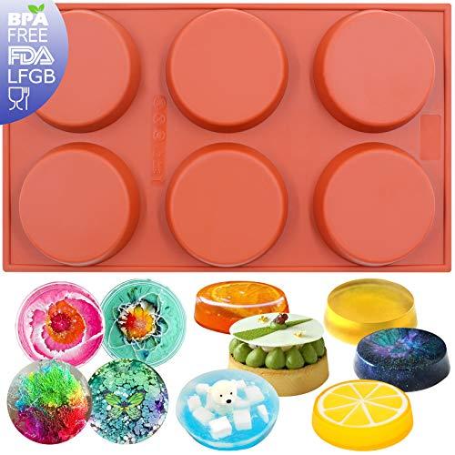Funshowcase 6-Cavity Mini Disc Cake Pie Custard Tart Resin Coaster Silicone Mold 3-inch Small