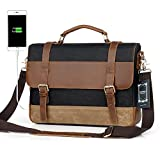 Men Messenger Laptop Bag Large Capacity Genuine Leather Canvas Waterproof Vintage Shoulder Bags vintage Satchel and Business Briefcase Perfect For 14.9 inch Computer By Sdiyabolo