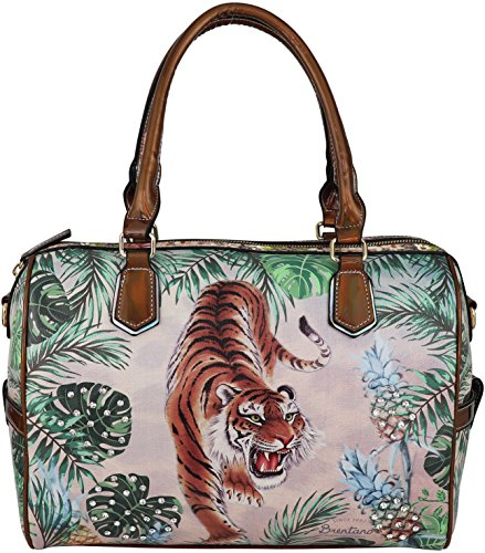 Tigers Zipper Top Handbag (B BRENTANO Vegan Cute Animal Graphic Top Handle Boston Shoulder Bag with Rhinestones (Tropical Tiger))
